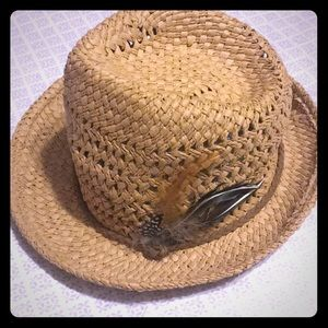 Straw Hat with Feather Trim Detail